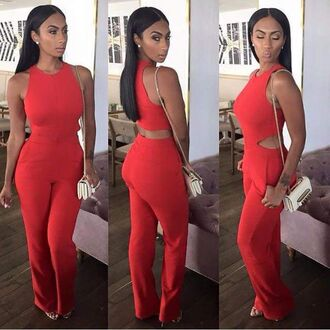 jumpsuit red red jumpsuits red jumpsuit all red black woman white bag