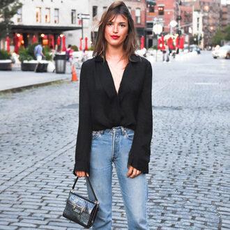 shirt jeanne damas black shirt denim jeans blue jeans bag black bag