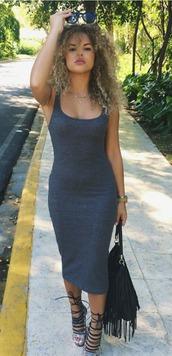 shoes,midi dress,heels,dress,bag,fringed bag,sunglasses