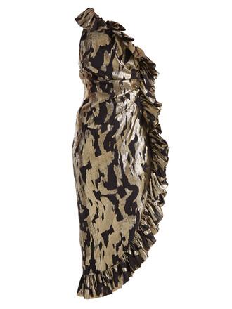 dress ruffle silk gold black