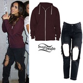 becky g,black ripped jeans,sweater
