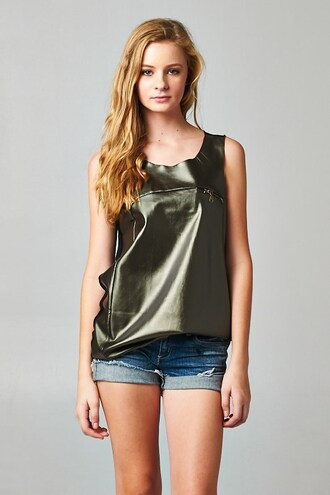 blouse trendyish metallic faux leather sleeveless zip gold olive green fall outfits