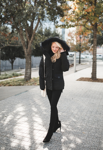 krystal schlegel blogger coat shoes jacket jeans bag winter outfits black coat boots ankle boots