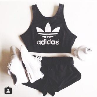 shirt black blackcroptop sportswear fitness adidas sports bra