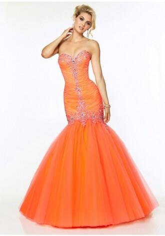 Bright Orange Mermaid Prom Dresses dress orange orange dresses