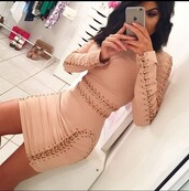 dress,lace up,nude,nude dress,bodycon dress,bodycon,gold,chain,n?de,long sleeves,dre??
