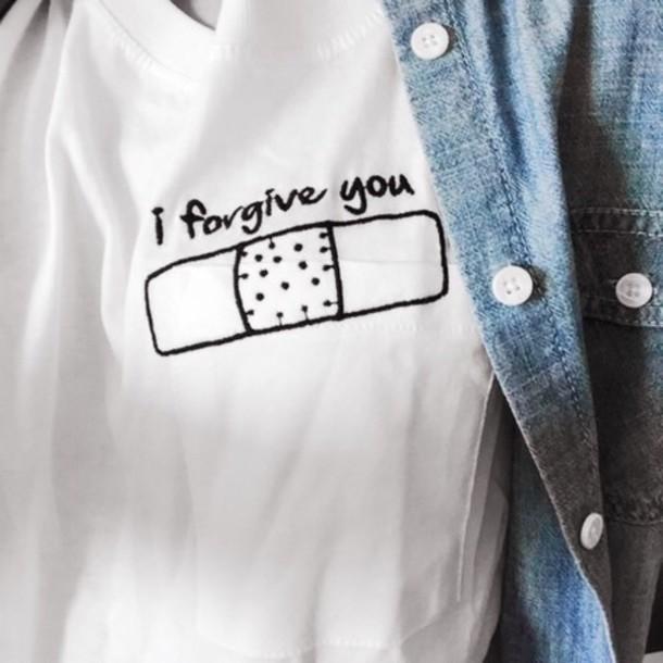 denim jacket shirt t-shirt forgive white denim jacket girl statement love blouse