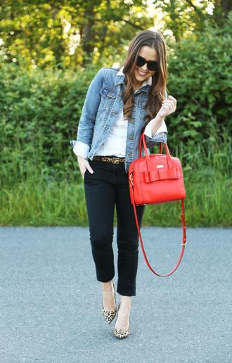dress corilynn blogger red bag old navy denim jacket