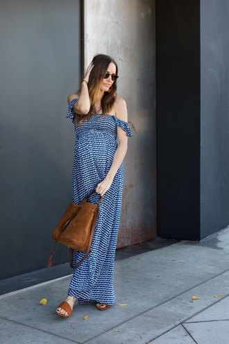 louise roe blogger dress shoes bag jewels maxi dress maternity dress maternity slide shoes