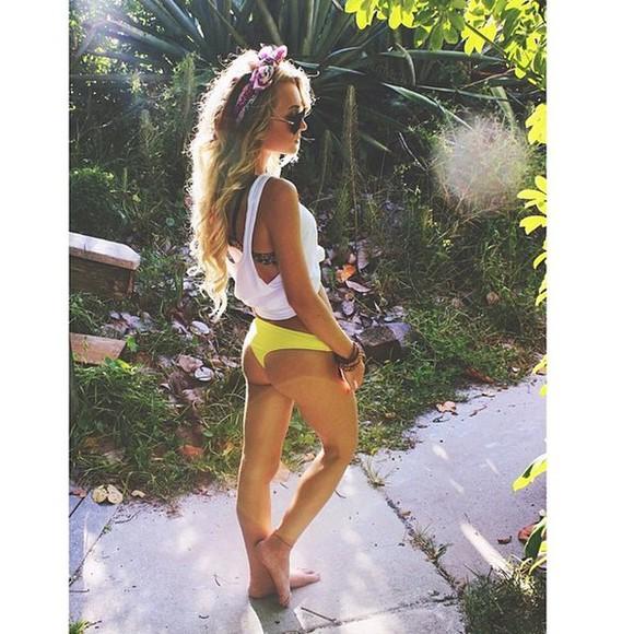swimwear cute bikini yellow bikini booty