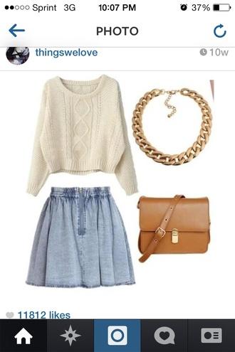 jewels brown leather bag handbag women leather handbags necklace gold sweater skirt