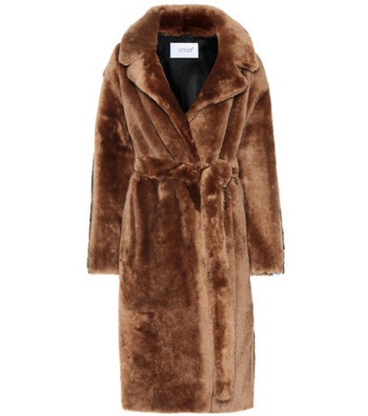Common Leisure Love At 18 striped shearling coat in brown