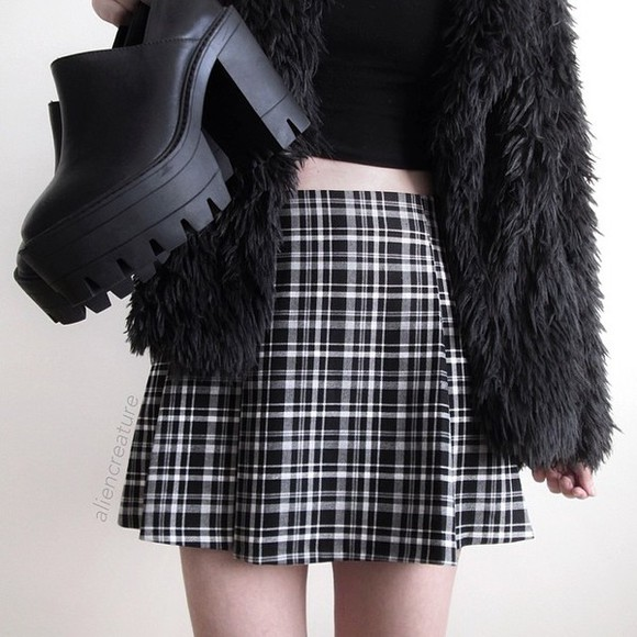 skirt shoes tartan flannel