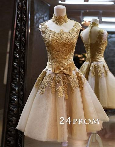 Custom Made Champagne Lace Short Prom Dresses, Homecoming Dresses, Bridesmaid Dresses - 24prom