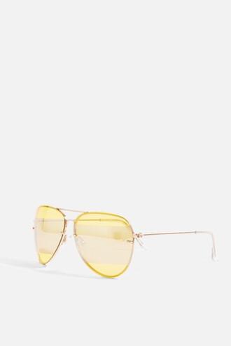 sunglasses aviator sunglasses yellow