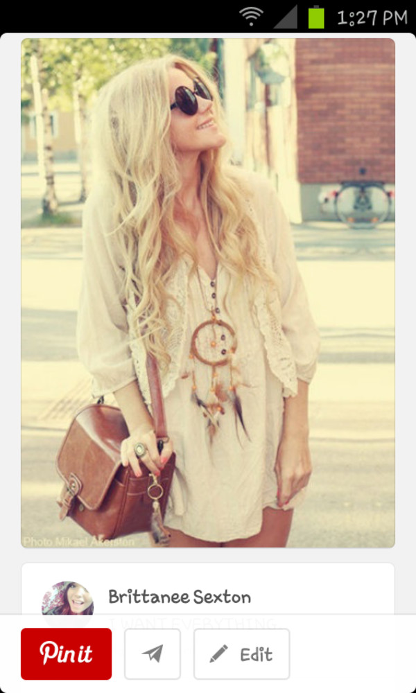 jewels dreamcatcher necklace shirt dress bag sunglasses white