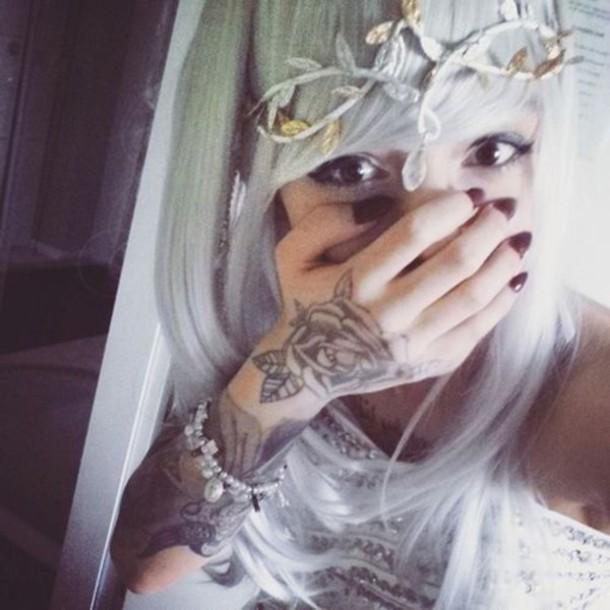 Hair accessory boho boho chic tattoo leaves grunge for Pastel goth tattoos