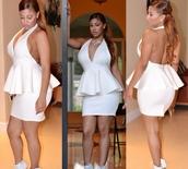 white halter,peplum,halter dress,peplum dress,deep v dress,plunge neckline,curvy
