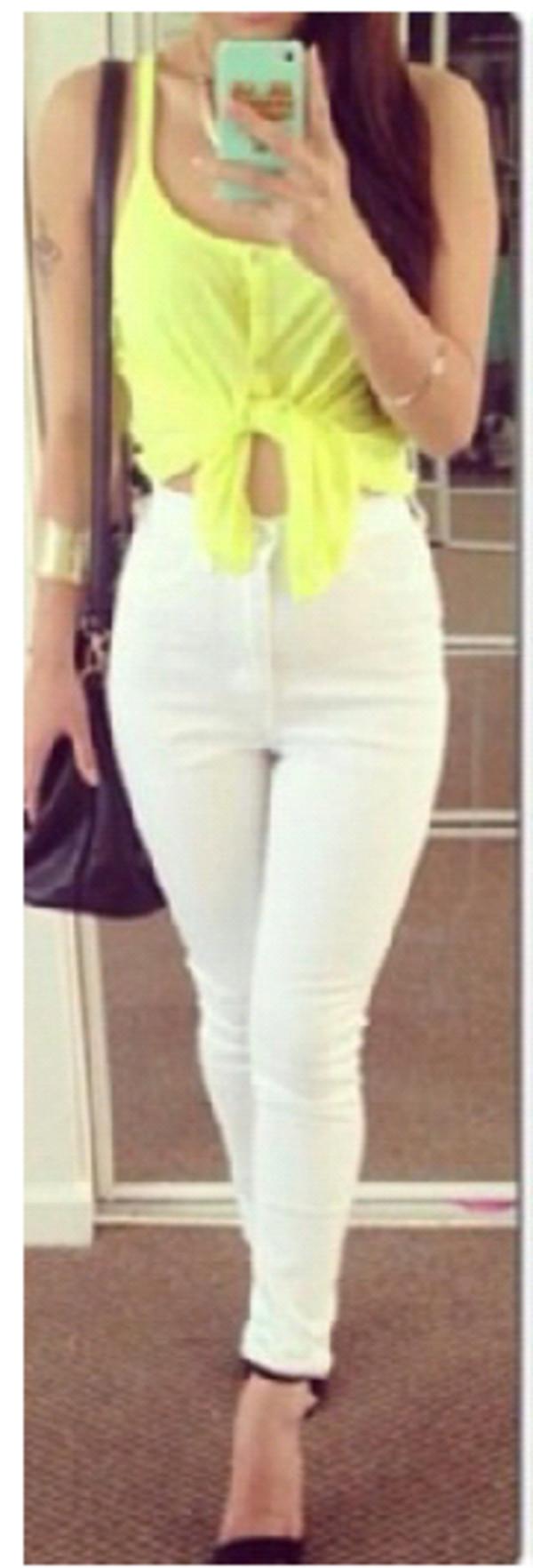 blouse jeans bag purse neon heels shoes jewels