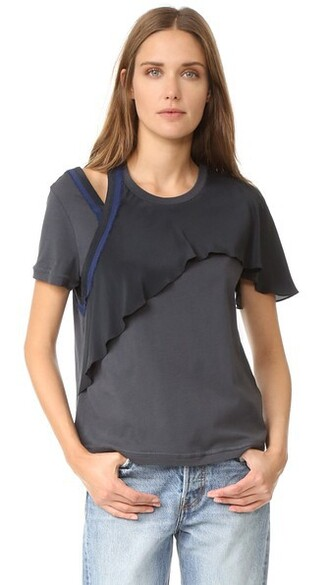 t-shirt shirt ruffle black top
