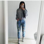 jeans,boyfriend jeans,jacket,grey,baseball jacket,bomber jacket,grey bomber,ripped jeans,tight,roll-up,jeans blue skinny ripped,blue jeans,grey jacket,grey shoes,high waisted jeans,grey t-shirt,grey sneakers,denim,ripped