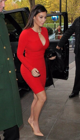 dress kim kardashian bandage dress tight dress red dress keyhole dress