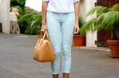 pants,polka dots capri pants,polka dots,blue pants,baby blue,bag,camel bag,top,white top