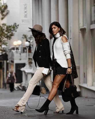 pants tumblr black skirt white pants wide-leg pants boots black boots high heels boots ankle boots sock boots sweater white sweater turtleneck cut-out shoulder sweater cut-out cut out shoulder skirt mini skirt bag black bag chain bag black blazer blazer sandals hat turtleneck sweater friends