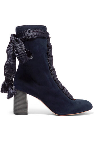 suede ankle boots boots ankle boots lace blue suede shoes