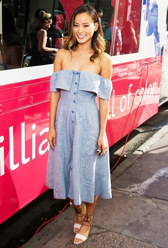 dress reformation reformation dress blue dress button up button up dress off the shoulder off the shoulder dress midi dress sandals flat sandals white sandals jamie chung celebrity style celebrity summer dress summer outfits