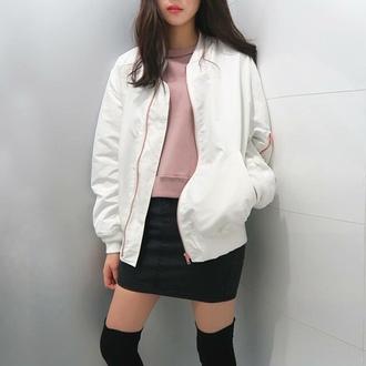 jacket white jacket bomber jacket
