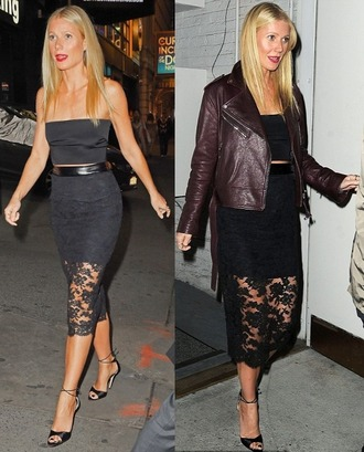 jacket black top lace pencil skirt gwyneth paltrow
