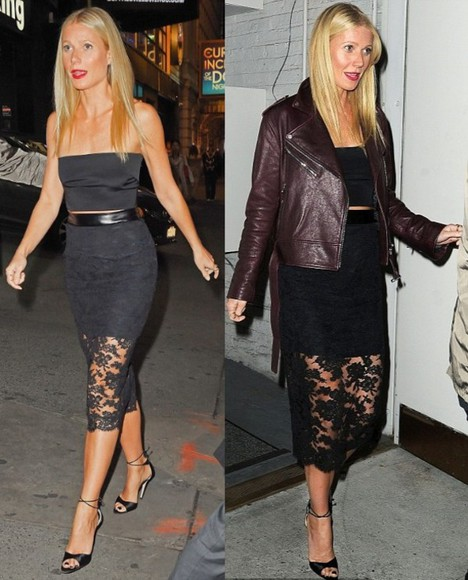 gwyneth paltrow jacket lace pencil skirt black top