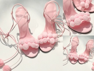 shoes puffs pink blush light pink prissy pom poms tie up lace up heels heels girly cute pink heels