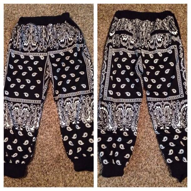 pants swag joggers dope style bandana print joggers