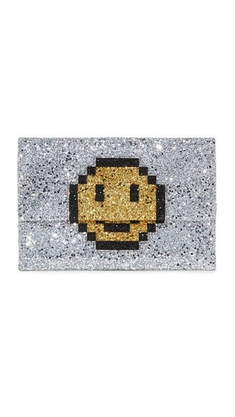 smiley clutch silver bag