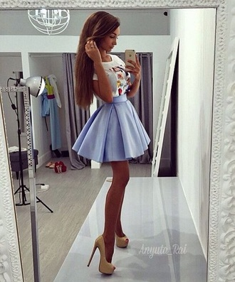 skirt blue puff puffy cute teenagers tumblr light faded pastel waist party beach summer spring fall outfits winter outfits music mirror formal occasion blue box pleat skirt