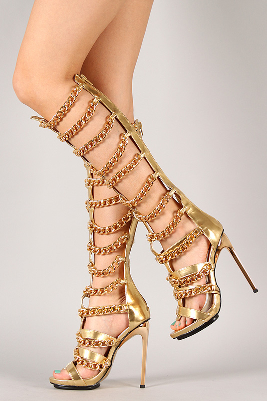 Vunk Metallic Strappy Chain Gladiator Knee High Stiletto Heel