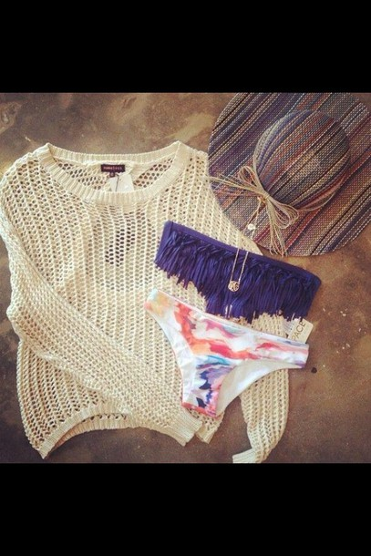 sweater holes knit swimwear blue floral swimwear summer fringe bikini bikini purple swimwear hat beach sun hat swimwear knitted sweater summer outfits fishnet? multicolor holidays
