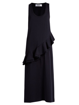 dress jersey dress sleeveless ruffle navy