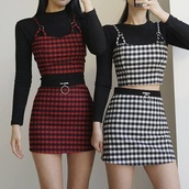 dress,two-piece,black and red checkered skirt,top,gingham skirt,gingham print,2piece set