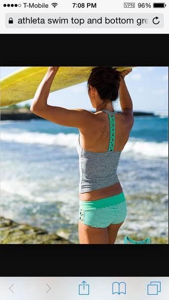 swimwear athleta swim top and bottom grey and green