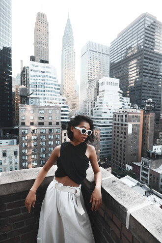 shine by three sunglasses top t-shirt crop tops white pants loose pants white sunglasses new york rooftop cool hipster pants