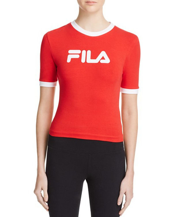 aec46de723 Fila   Red Cropped 90s T-shirt With Contrast Collar And Front Logo ...