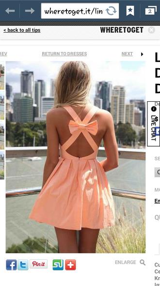dress light orange bow back dress cross back bow dress
