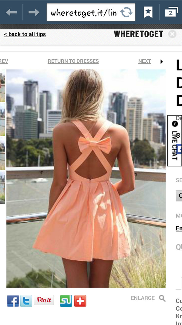 dress light orange Bow Back Dress cross back bow dress