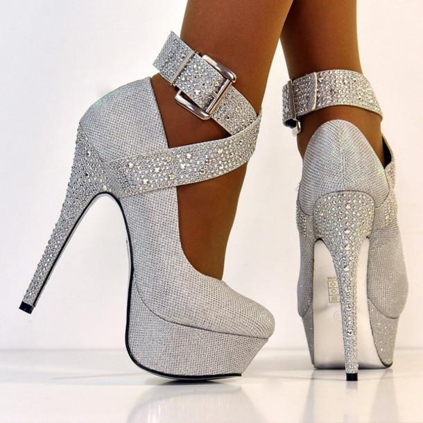 8ff1e03191a7 shoes diamanté ankle straps platform shoes glitter argent platform heels  silver shoes crossover straps