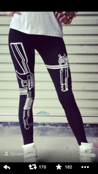leggings gun print black swag tumblr fashion