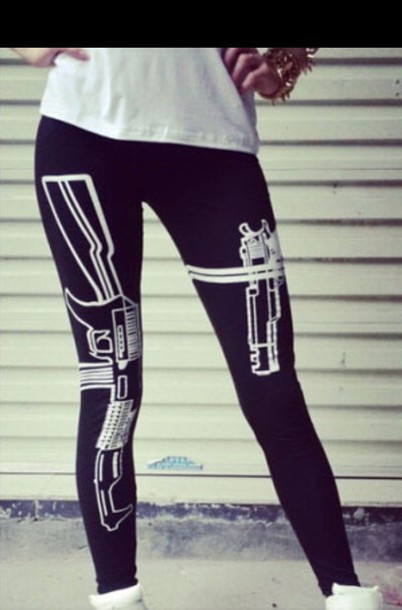 leggings gun print black swag tumblr fashion