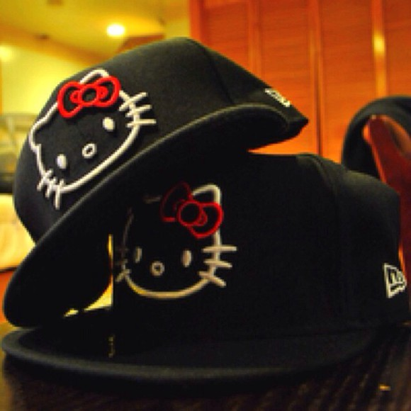 black cap hat black cap hello kitty hello kitty cap hello kitty hat$ black hair red bow hello kitty print kawaii cute cap hipster